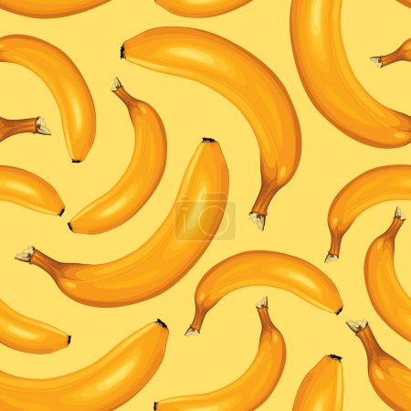 Illustration for Seamless pattern of ripe bananas on yellow background - Royalty Free Image