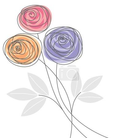 Illustration pour Beau bouquet de fleurs de rose coloré - image libre de droit