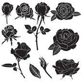 """Постер, картина, фотообои """"силуэт набор пышной розы цветы"""""""