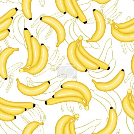 Illustration for Cartoon seamless pattern with bananas - Royalty Free Image