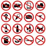 Set of icons with prohibiting different designatio...