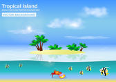Tropical island vector background