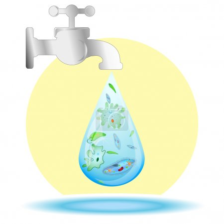 Microbes in drop of dirty water