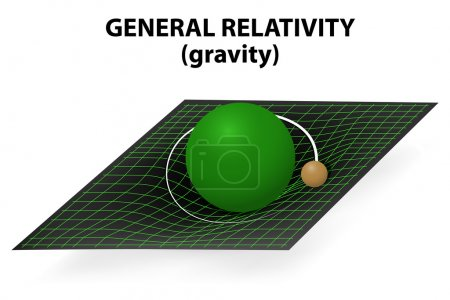 Illustration for Einstein's general theory of relativity explains gravity as the curvature of space-time. When small object moves through space-time, it feels the curvature created by the massive body. - Royalty Free Image