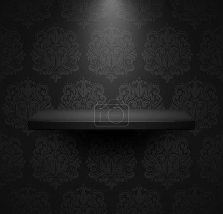 Illustration pour Étagère isolée vide foncé sur beau fond de luxe noir. Illustration vectorielle . - image libre de droit