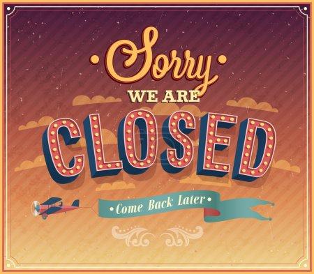 Désolé, nous sommes fermés conception typographique