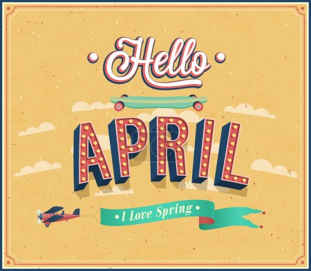 Illustration for Hello april typographic design. Vector illustration. - Royalty Free Image
