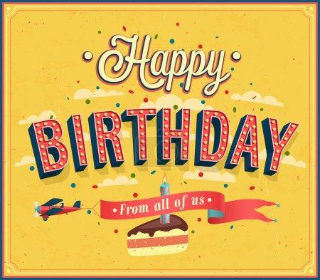 Illustration for Happy birthday typographic design. Vector illustration. - Royalty Free Image