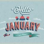 Hello january typographic design. Vector illustrat...