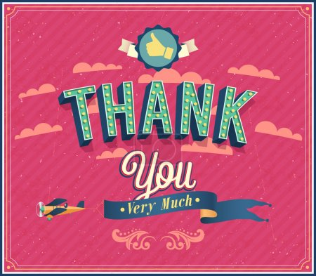 Illustration for Thank you typographic design. Vector illustration. - Royalty Free Image