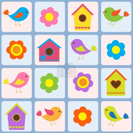 Birds, flowers and birdhouses. Seamless vector pattern