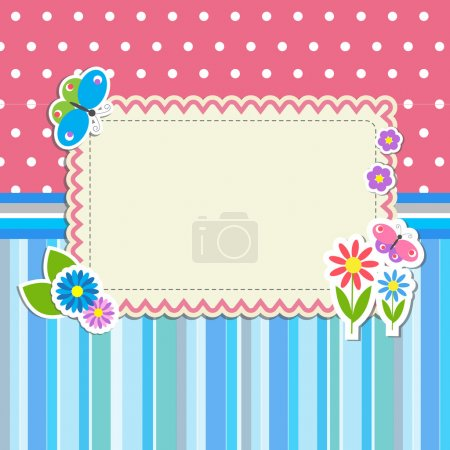 Frame with flowers and butterflies
