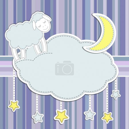 Photo for Frame with cute sheep,moon and stars - Royalty Free Image