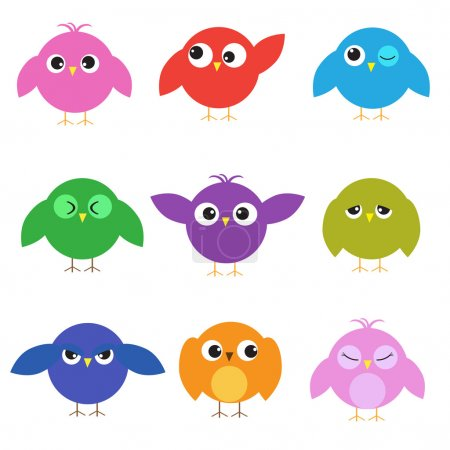 Illustration for Set of cute birds with different emotions - Royalty Free Image