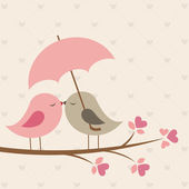 Birds under umbrella Romantic vector card