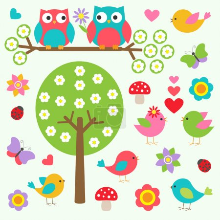 Birds and owls in spring forest. Vector set...