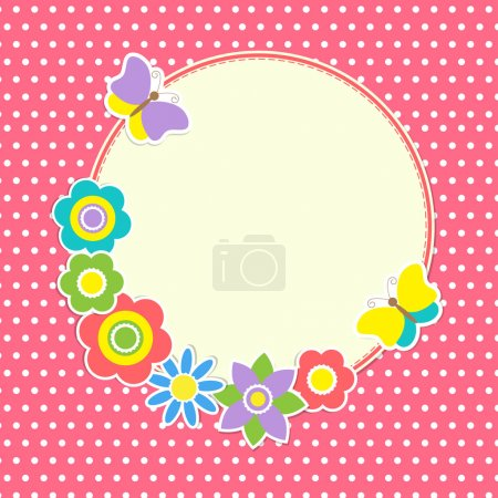 Round frame with colorful flowers and butterflies