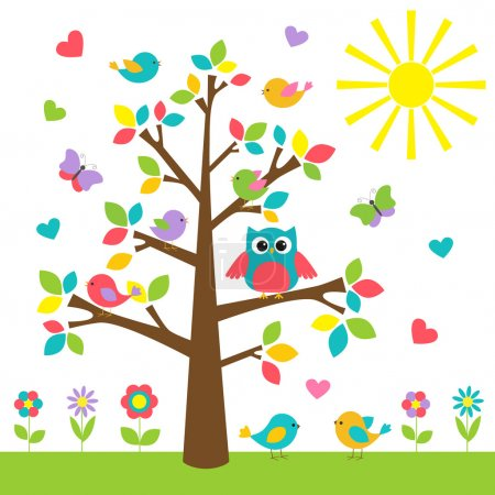 Colorful tree with cute owl and birds