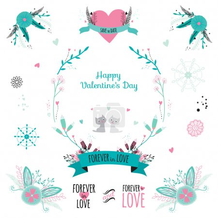 Romantic collection with greeting labels