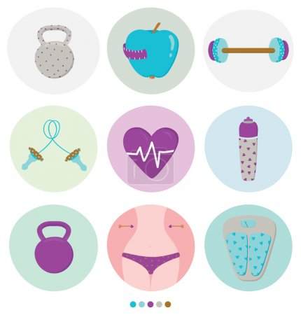 Set of various sports and fitness info graphic elements