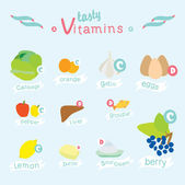Info graphic set of vitamins A B C D and useful products