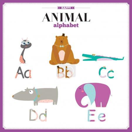 Lustiges und niedliches Zoo-Alphabet. Buchstaben a, b, c, d, e.