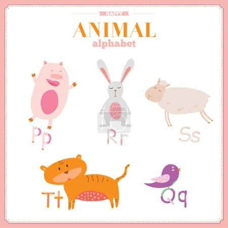 Lustiges und niedliches Zoo-Alphabet. Buchstaben p, r, s, t, q.