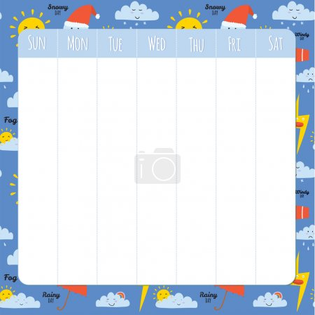 Unusual seamless vector childish pattern with cartoon and funny smiley weather icons