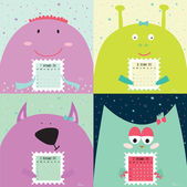 Unusual calendar for 2015 with cartoon and funny animals illustration in cute style Vintage collection Can be used like happy birthday cards Good organizer and schedule