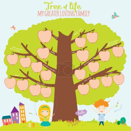 Genealogical family tree in a cute and cartoon style design