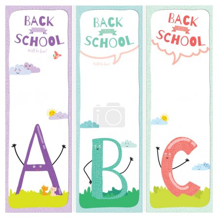 Set of design elements for back to school template design.