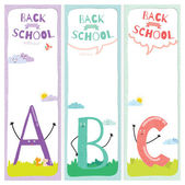 Set of design elements for back to school template design.