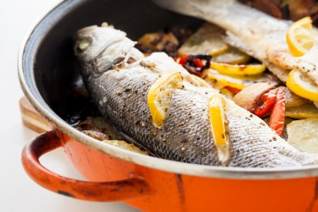 Cooked seabass
