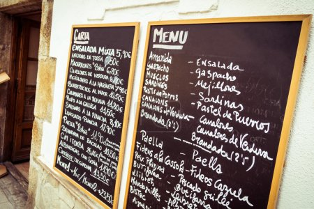 Photo for Typical spanish tapas chalkboard. - Royalty Free Image