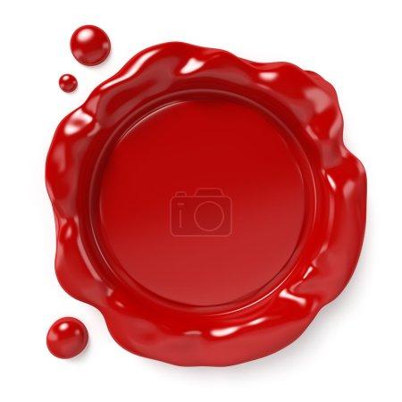 Photo pour Sceau de cire rouge avec espace pour logo ou texte isolé sur fond blanc. Image générée par ordinateur avec chemin de coupe . - image libre de droit