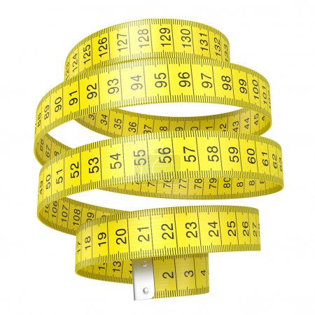 Photo for Yellow measuring tape isolated on white background with clipping path - Royalty Free Image