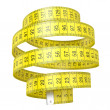 Yellow measuring tape isolated on white background...