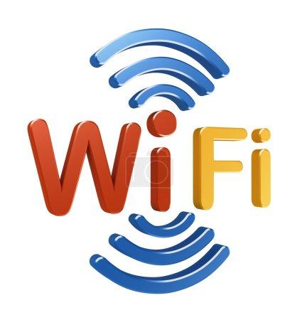 Photo pour Logo de WiFi. 3D concept - image libre de droit