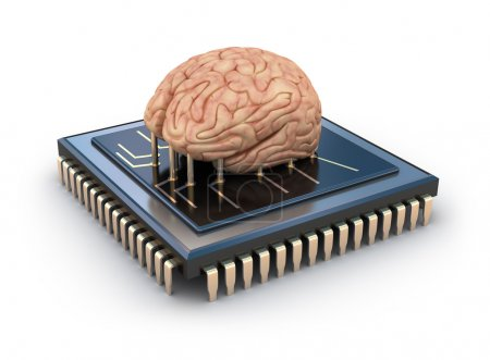 Photo for Human brain and computer chip, 3D concept - Royalty Free Image