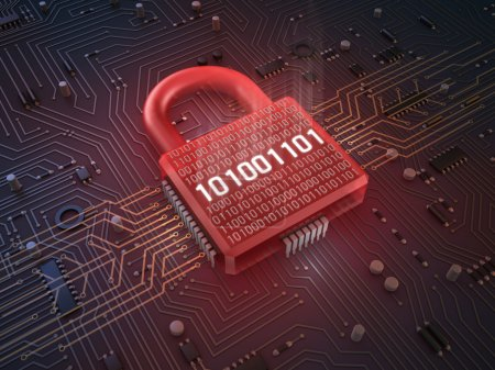Photo for Firewall lock on mainboard , concept background - Royalty Free Image