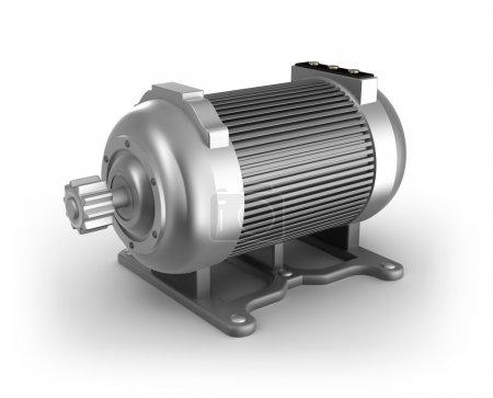 Photo pour Moteur électrique. Image 3D. Isolé sur image 3d blanche - image libre de droit