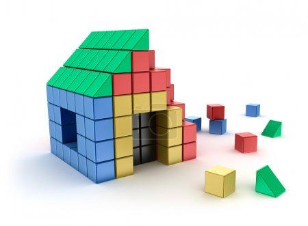 Photo pour Construction d'une maison à partir de blocs d'enfants. Isolé sur blanc. Image 3d - image libre de droit