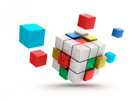 3D abstract cubes background. Isolated on white.