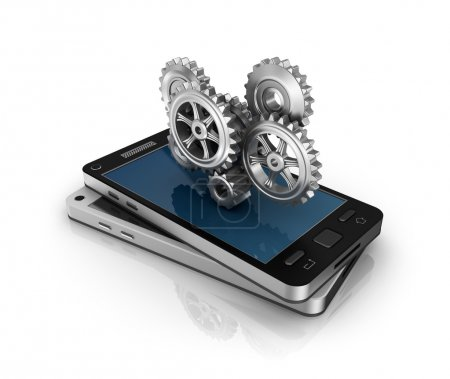Photo for Mobile phone and gears. Application development concept. - Royalty Free Image