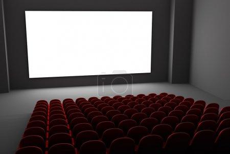 Photo pour Intérieur de film de théâtre. écran blanc isolé - image libre de droit
