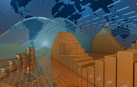 Photo pour Contexte du marché des affaires avec pièces et diagramme de stock - image libre de droit