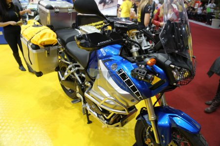 Motorcycle ducati touratech blue