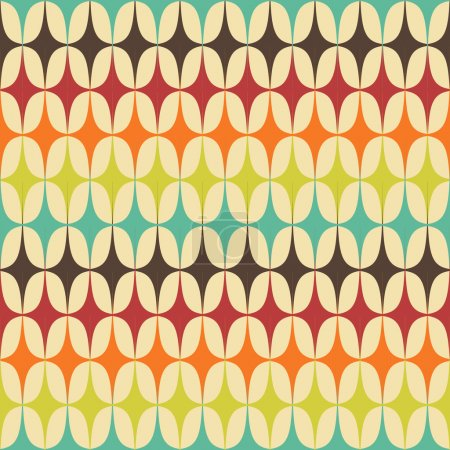 Illustration for Abstract Retro Geometric seamless pattern with triangles. Vector Illustration - Royalty Free Image