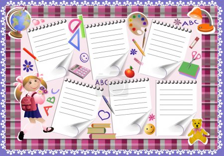 Illustration pour La forme colorée de la planification des leçons pour les écolières. le menu est décoré d'objets et d'outils de l'école. Page d'impression de l'affiche. - image libre de droit