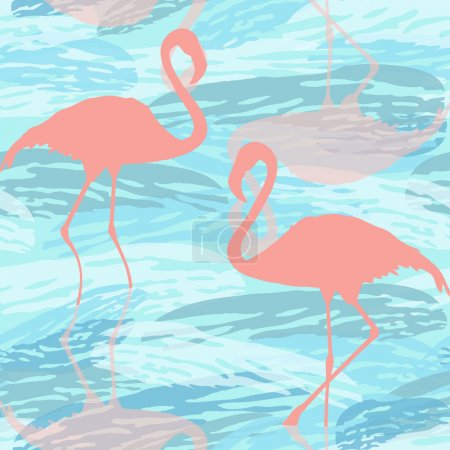 Illustration for Colourful illustration with silhouettes of a flamingo and aqua. Vector pattern background. - Royalty Free Image